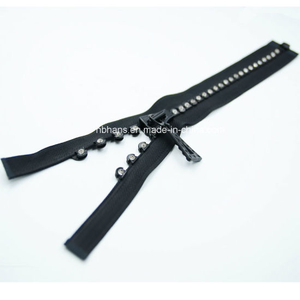 Rhinestone Plastic Open-End Zipper -5# (SZ-069)
