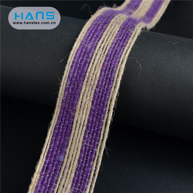 Hans Chinese Supplier Color Jute Lace Ribbon
