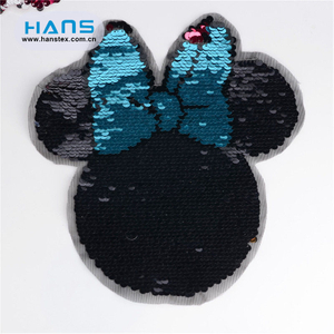 Hans Competitive Price with High Quality Clear Sequin Beaded Patch