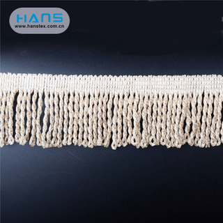 Hans ODM/OEM Design Beige Long Fringe Trim