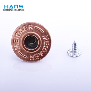 Hans Wholesale Custom Logo Beautiful Rose Gold Shank Jeans Button