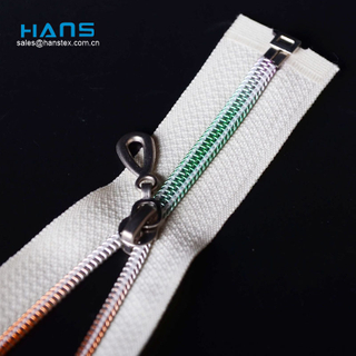 Hans Factory Wholesale High Strength OEM Silver Zipper