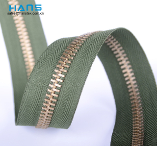 Hans New Custom Washable Brass Zipper by Yard