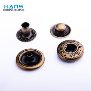 Hans 2019 Hot Sale Different Sizes Metal Button Snaps for Leather
